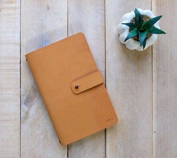 Leather Journal with Stud Closure and Rivet Details, includes monogram