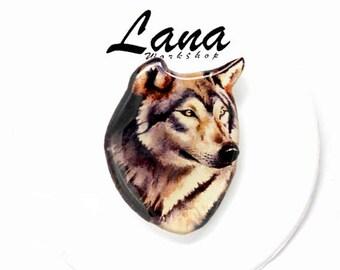 Wolf jewelry, brown wolf, Animal jewelry, brooch animal, pin wolf, wolf, clay wolf, clay pin, hardened wolf .