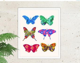 ON SALE Butterfly Print, Multicolored, Butterflies, Multi-Colored, Summer, Wall Art, Colorful, Bright Colors, Wings, Hot Pink Flower Print B