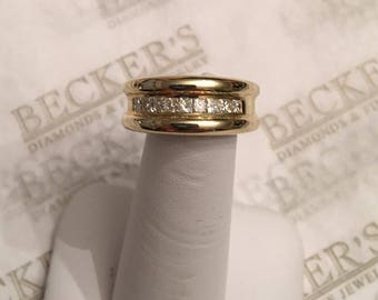 Vintage 14k yellow gold 8.6mm wide tapering channel set wedding band, 9 Princess Cut Diamonds .50 tw IJ-SI1,2, size 6