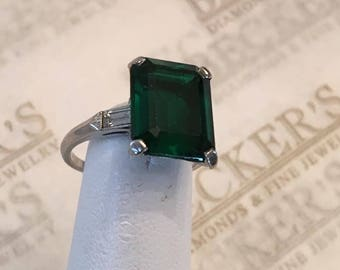 Retro platinum milgrain ring Emerald Cut Created Green Spinel 12x10mm, Baguettes and Round Diamonds .33 tw GH-SI1,2 size 5 - **For Repair