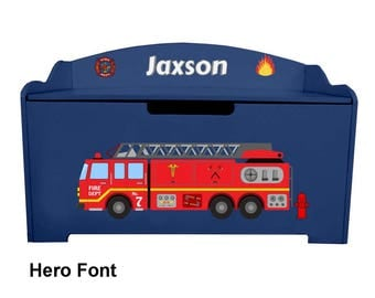Personalized Dibsies Modern Expressions Firetruck Toy Box - Blueberry