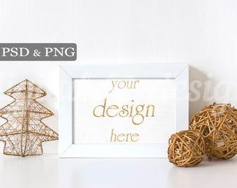 Gold Glitter Tree Christmas Styled Stock Photography Desk Horizontal Frame Mockup Download Empty Art Frame Product Digital Background