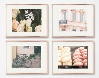 Blush Wall Art Set of 4 // French Decor // Gallery Wall Prints // Paris Photography