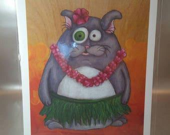 Hula Kitty -print
