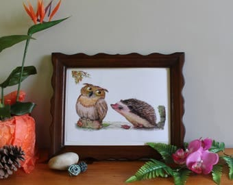 """A4 poster illustrated """"OWL and hedgehog"""""""