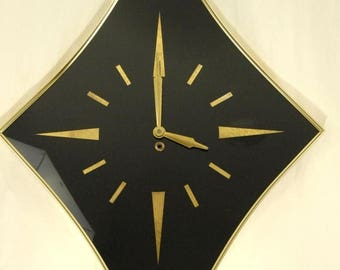 On Sale 1959 Turner Wall Accessories Walk Clock Diamond Shape Wind Up Glass Face Made in USA with Key