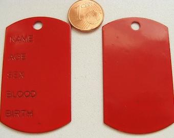 1 plaque pendentif métal émaillé à graver 51mm ROUGE plaque-email-rouge