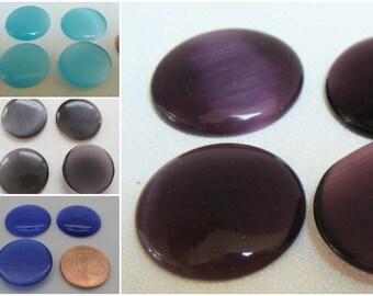 4 Cabochons Ronds 18mm verre OEILde CHAT DIY création bijoux couleurs au choix