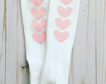 Light Pink Glitter Heart White Knee High Baby / Toddler / Girls Socks / Heart Socks