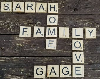 "3.5"" Large Scrabble Tiles Wall Tiles Home Decor Scrabble Letters Family Names Wood Wall Art Personalized Art Custom Art Board game Art"