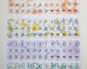 Water colour effect - Date Dots/Covers for ECLP, Happy Planner, monthly views or TN's