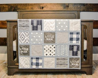 Custom Premium Baby Quilt- Baby boy, Adventure, Navy, Patchwork Quilt, Soft Minky Quilt
