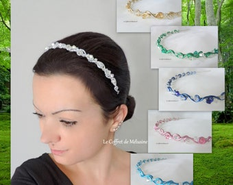 Pink, silver, blue, green, pink or gold headband with Crystal