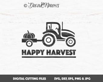 Happy Harvest SVG, Tractor SVG, Pumpkin SVG Cut File, Harvest Svg Cut Files, Fall Svg Saying Autumn for Cricut or Silhouette SVDP538
