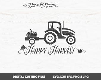 Happy Harvest SVG, Tractor SVG, Pumpkin SVG Cut File, Harvest Svg Cut Files, Fall Svg Saying Autumn for Cricut or Silhouette SVDP539