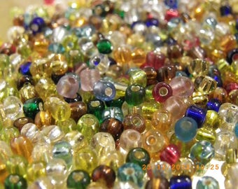 200 glass beads multicolor 3 - 4 mm glass