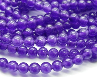 60 beads approx 6 mm transparent round purple jade
