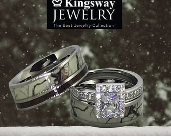 custom engraved snow camo wedding ring set for him and her titanium stainless steel sterling silver - Camo Wedding Ring Sets For Him And Her
