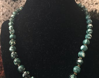 Vintage Green Beaded Design Necklace, Length 19''