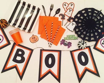 Boo! Banner;Halloween Banner;Halloween Decor; Halloween Party; Orange and Black Decor; Ghost Decor; Holiday Banner; Ghost Banner