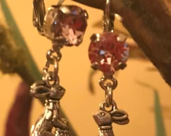 Bunny Earrings with an 8mm Swarovski Crystal