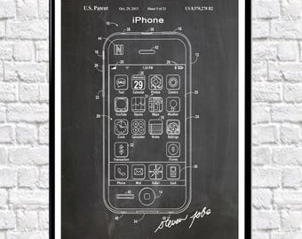 iPhone Patent Poster iPhone 6 iPhone 7 Apple iPhone Apple Computers Phone Decor iPhone Wall Art iPhone Print WB038