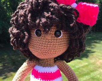 Sweet pink African American crochet doll