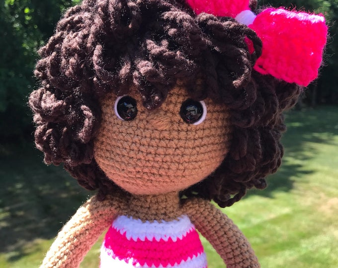 Featured listing image: Sweet pink African American crochet doll