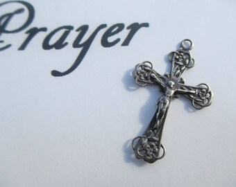 Sterling Silver Daisy Crucifix