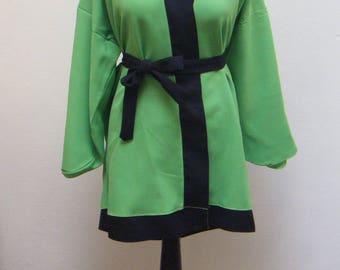 Top green & Black kimono with belt
