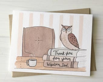 Wise Dad - dad birthday card, card for dad, wise owl card, owl card, cute fathers day, happy fathers day, fathers day card, wise dad card
