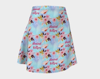 Cute 'Feminist Killjoy' Soft Blue and Pink Feminist Fashion Print - A-line Skirt - Skater Skirt - Femme Fashion
