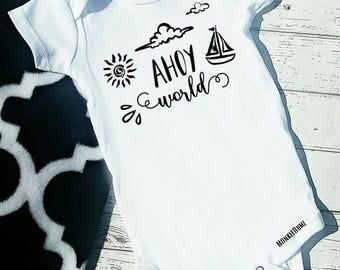 Ahoy World Nautical boats Anchor sun ocean , Boy Bodysuit tshirt clouds new baby babyshower Summertime  Vacation Shirts, Water