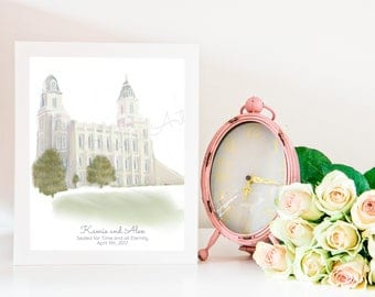 Manti Temple, Personalize, Printable or Physical, Manti Art Print, LDS Temple, LDS, Mormon, Temple Sealing, Gift, Endowments, Present