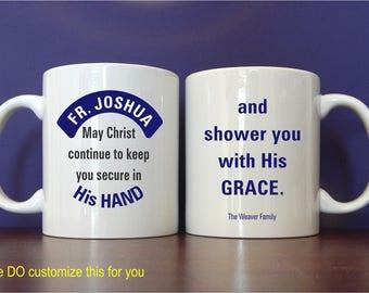 Reverend Father Priest Custom Coffee Mug Gift, Fathers day Thank you Mug Gift for Catholic Priest, Personalized Appreciation Mug, MST003