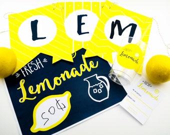 Lemonade Stand Kit - Printables for Lemonade Stand - Imaginary - Pretend Store - Kids Lemonade Stand - Lemonade Banner - INSTANT DOWNLOAD