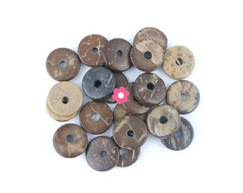 x 20 Perle flat rondelle 12mm Brown coconut (23)