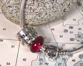 "Pandora Charms Coordinates - Personalized ""Pandora"" Charm - Custom Latitude Longitude on Sterling Silver Bead for ""Pandora"" Bracelet"