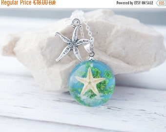 Sale Nautical Necklace Starfish Pendant Ocean Necklace Real Starfish Necklace Blue Nature Resin Necklace  Starfish Necklace Sea Necklace Gif