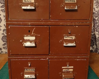 Vintage Industrial Metal Stackable Index Filing File Card Catalogue Cabinet with 6 Drawers