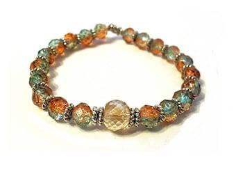 Beaded Orange and green beads