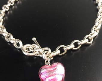 "Vintage 18"" Italy 925 Sterling Silver Rolo Curb Chain Toggle Clasp with Pink Glass Heart Pendant 
