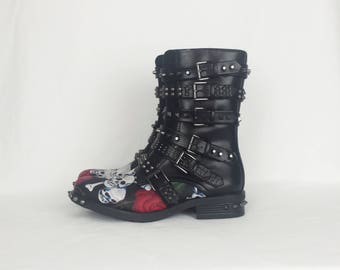 Skull roses boots, rock boots, women boots, alternative clothing, spikes, studs shoes, rock your sole, custom shoes, gothic boots, goth shoe