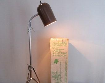 "Rare 1960's GORE Adjustable Floor PLANT Light LAMP Tripod ""Stand-Op""~Original Box~Authentic~Folding"