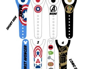 IMPROVED 2.0 Magic Band Decals, Marvel, Avengers, Thanos, super heroes, villains, captain america, thor, iron man, personalized band