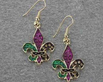 Fleur De Lis Mardi Gras Earrings Gold