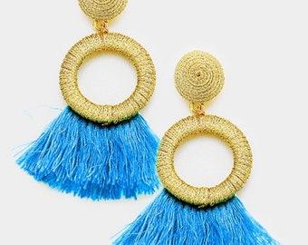 Thread Hoop Tassel Earrings Gold/Blue