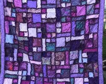 "Various Color Purple Batik Scrappy Rag Quilt 78""x88"" Homemade Full Queen Scrappy Purple Rag Quilt"
