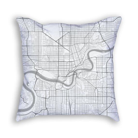 Edmonton Alberta Canada Street Map Throw Pillow